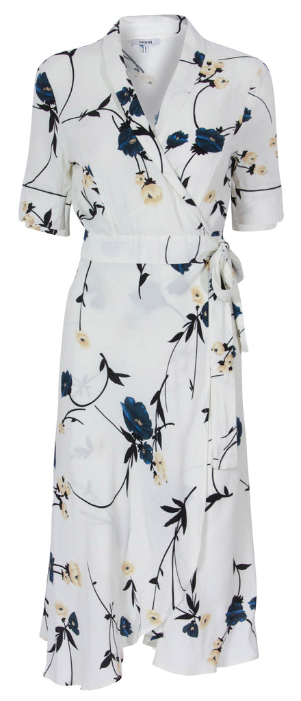 Ganni Dalton Crepe Vanilia Kimono Wrap Dress  Ladies