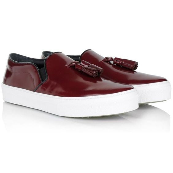 CÉLINE by Phoebe Philo Slip-On Sneaker Espadrilles Shoes With Tassel Burgundy Size 40 US 10 UK 7 Ladies