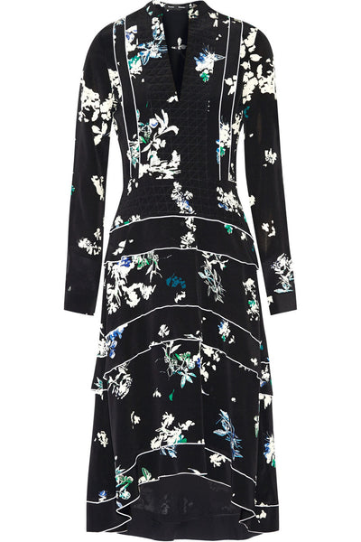 Proenza Schouler Ruffle-Tiered Floral-Print Midi Dress Size US 8 UK 12 L large Ladies