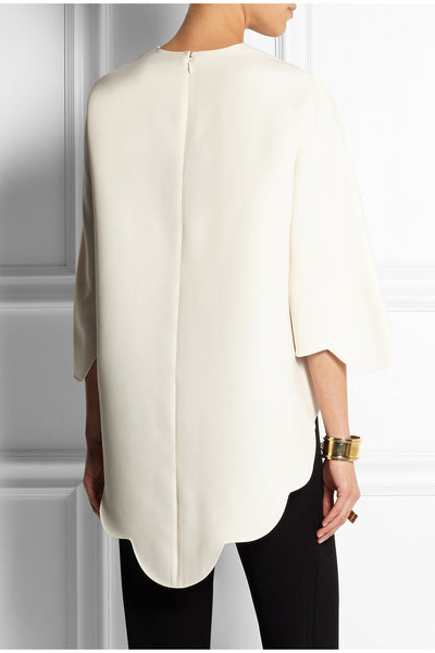VALENTINO  scalloped tunic White Silke Size 40 S Small ladies