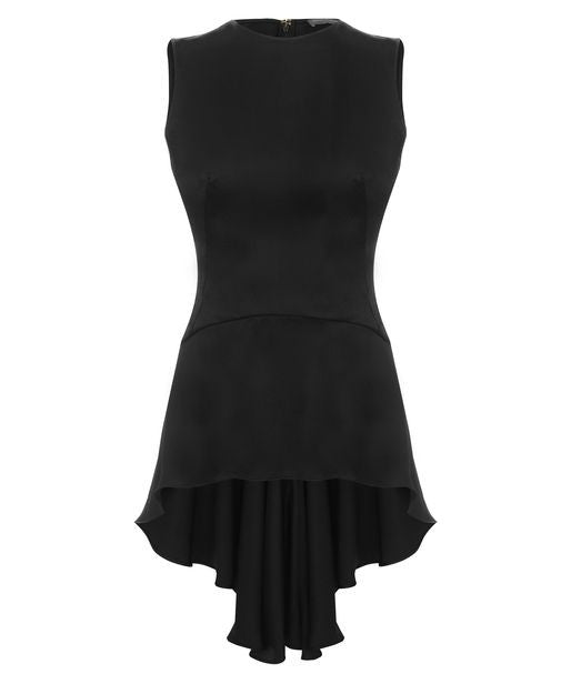 Alexander McQueen Black Drape Satin Peplum Top I 40 UK 8 US 4 S Small Ladies