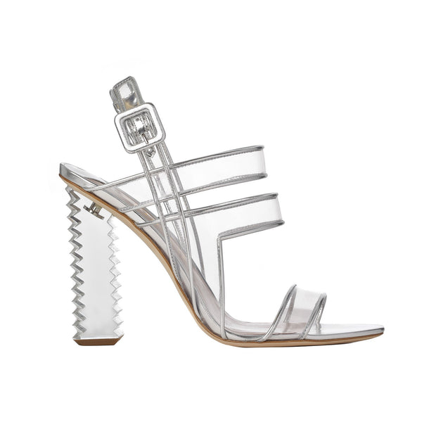 Aperlai Paris KIARA SANDALS SILVER TRANSPARENT VINYL Size 41 Shoes Ladies
