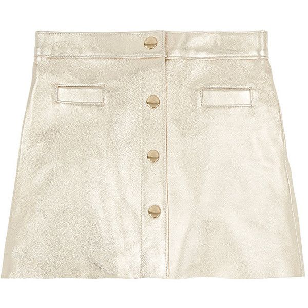 Bonpoint Snap-Front Grained Gold Leather Skirt Size 12 years Children