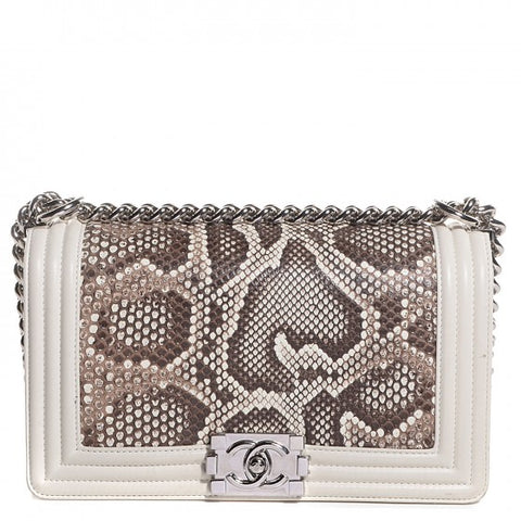 CHANEL Python Calfskin Small Boy Flap White Bag Handbag Ladies