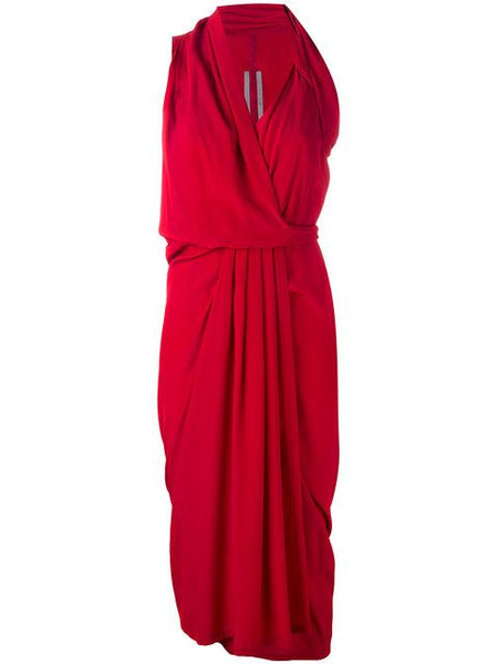 Rick Owens Crepe de chine Red wrap midi dress Size S Small ladies