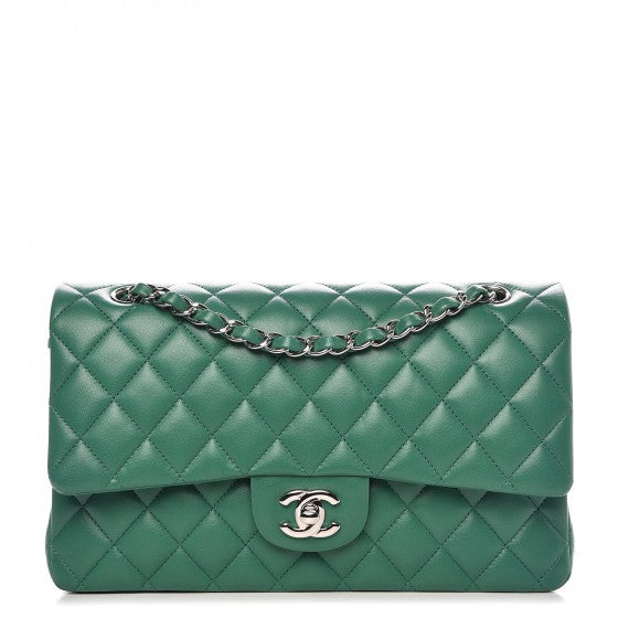 CHANEL Runaway Lambskin Quilted Medium Double Flap Green Bag Handbag ladies