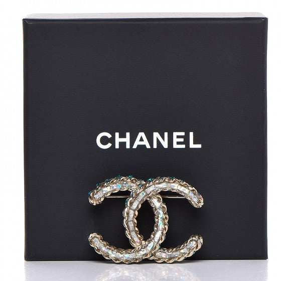 CHANEL Iridescent Crystal CC Brooch Green SOLD OUT Limited Edition Ladies
