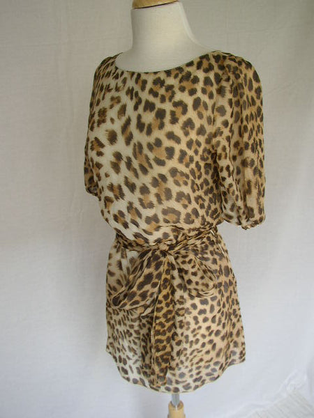 BLUMARINE Fine Flowy LEOPARD Silk Long BELTED TOP 40 S SMALL LADIES