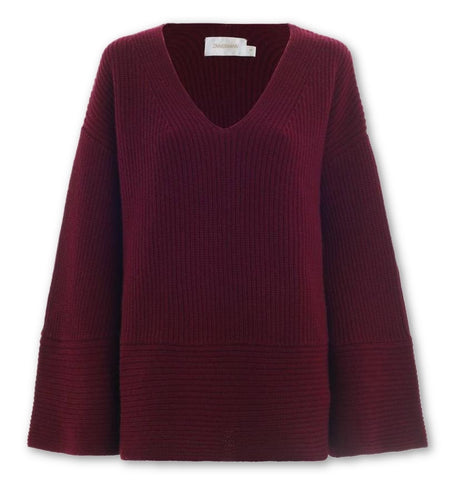 ZIMMERMANN Burgunday Oversize Wool Cashmere Maples Slouch Jumper  Ladies