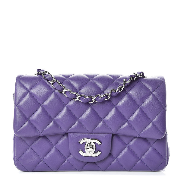 CHANEL Runaway Lambskin Quilted Mini Rectangular Flap Purple Bag Handbag ladies