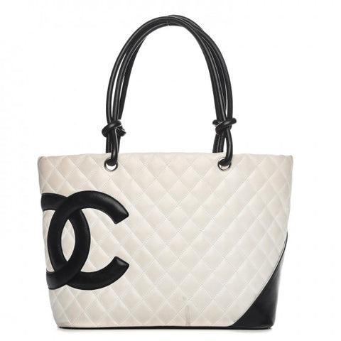 CHANEL Calfskin Quilted Large Cambon Tote White Black Bag Handbag ladies