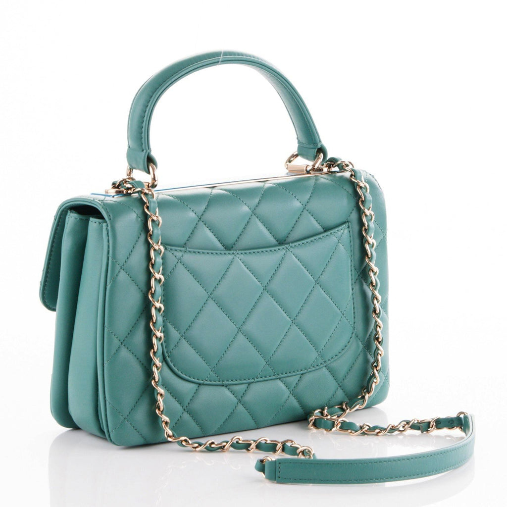 60b1cecdca02be ... CHANEL Lambskin Quilted Small Trendy CC Flap Dual Handle Bag Green  Handbag Ladies ...
