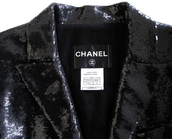 Chanel Rare Sequins Cocktail Jacket with White Contrast Sleeves F 40 UK 12 US 8 Ladies