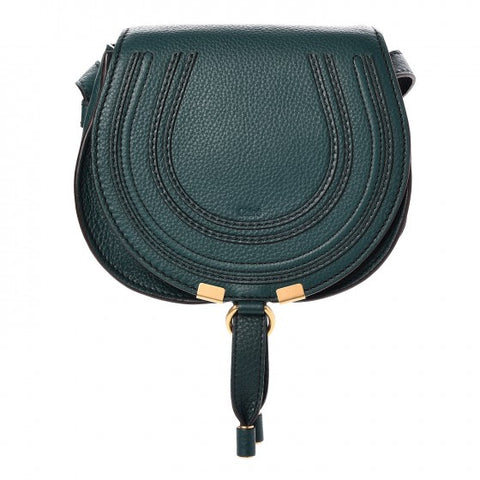 CHLOE Chloé Calfskin Small Marcie Round Crossbody Bag Teal Green Handbag ladies