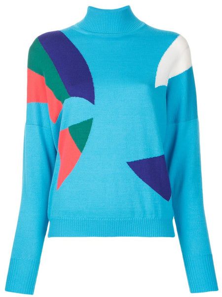 Delpozo Intarsia Wool Knit Sweater Jumper Size L Large Ladies