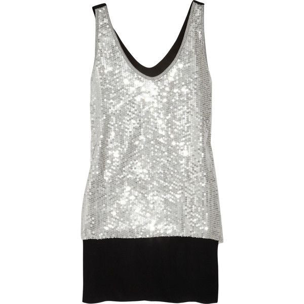 Diane Von Furstenberg Desta Embellished Top Silver Sequins Black Silk Club DVF Size 4 S Small NEW Ladies