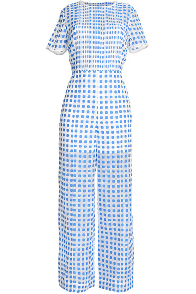 Diane von Furstenberg 2018 White Blue Pintuck Fil Coupé Jumpsuit  Ladies