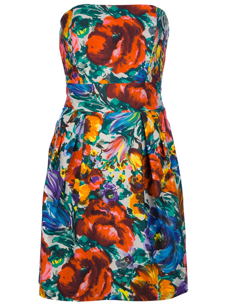 Dolce & Gabbana Floral-print cotton strapless mini dress Size I 40 Ladies
