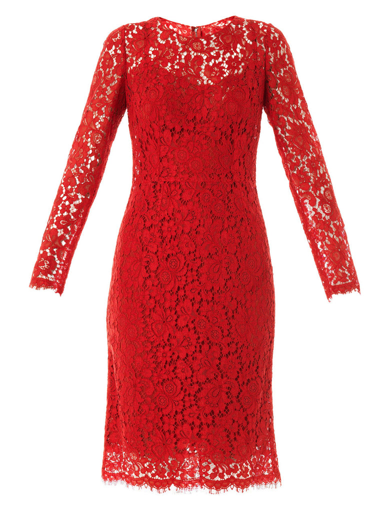 Dolce & Gabbana Red Runaway Lace Shift Dress Ladies