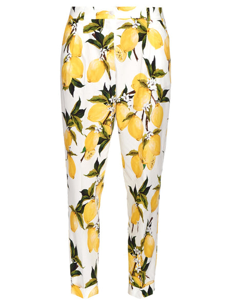 Dolce & Gabbana Lemon Printed Cotton Straight Pants Trousers Ladies