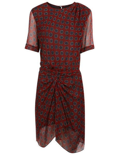 ISABEL MARANT Etoile Burgundy Barden Twist-front Silk Polka-dot Dress Ladies