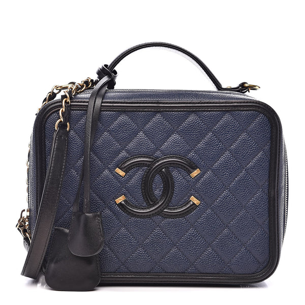 CHANEL Caviar Quilted Large CC Filigree Vanity Case Navy Black Bag Handbag ladies