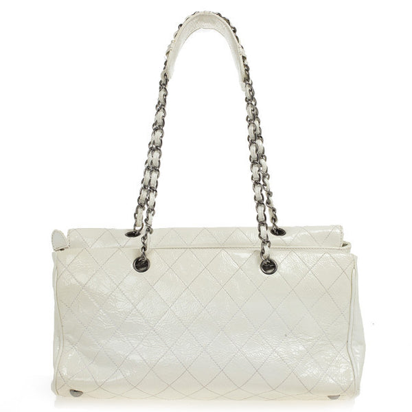 Chanel White Quilted Crackled Patent Leather The Ritz Shoulder Bag Ladies