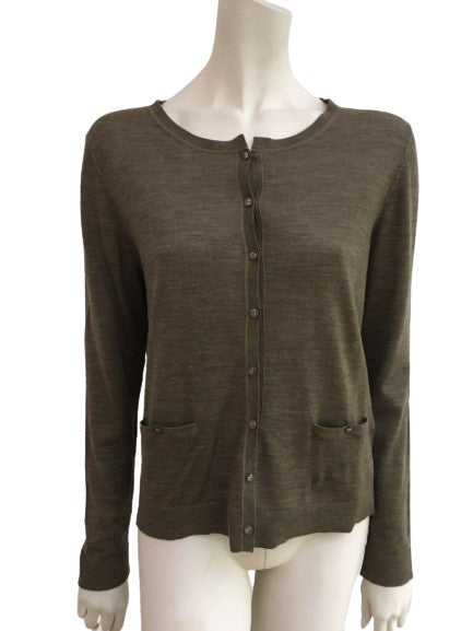 HUGO BOSS Wool Knit Brown Cardigan Size M medium ladies