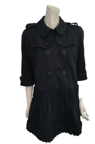 PRINGLE of Scotland 1815 black double breasted trench dress UK 12 US 8 EU 40 ladies
