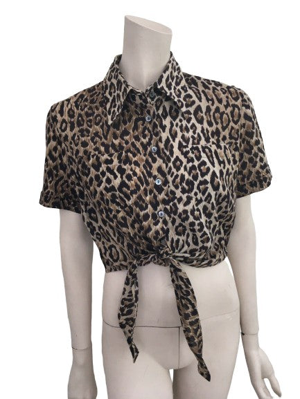 Dolce & Gabbana D&G Animal Print Tie Front Cropped Shirt Top I 44 ladies