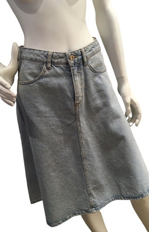 ZARA WOMAN KNEE LENGTH FLARE DENIM JEANS SKIRT Size S SMALL ladies