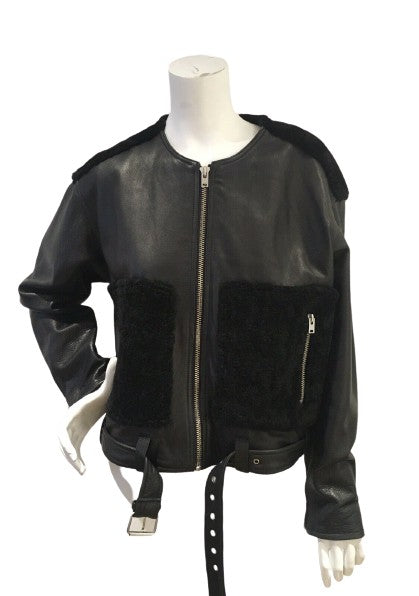 IRO Ever Shearling Leather Jacket Size F 38 UK 10 US 6 SEEN ON ALL CELEBRITIES ladies