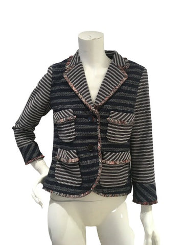 MARC MARC JACOBS BLUE TWEED FRINGE TRIM BLAZER SiZE 4 UK 8 S SMALL ladies