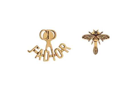 "Christian Dior Limited Edition 925 SILVER ""J'ADIOR"" EARRINGS Bee Aged Goldtone ladies"