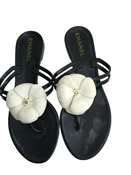 CHANEL Summer Camellia Slide Sandals Thong SIZE 37 UK 4 US 7 ladies