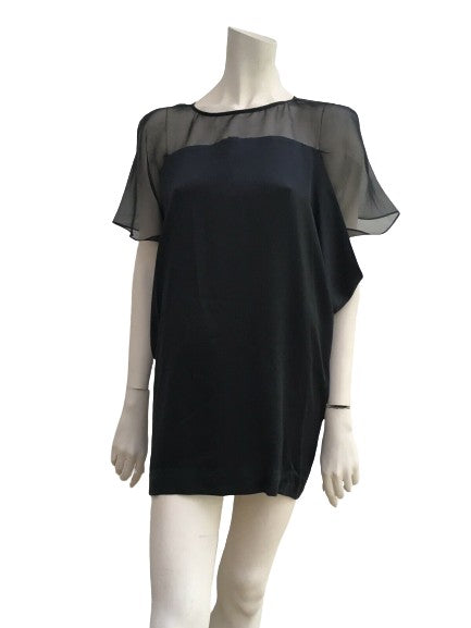 MAJE 100% Silk & Silk-Organza short sleeve dress EBONITE Size 2 M Medium ladies