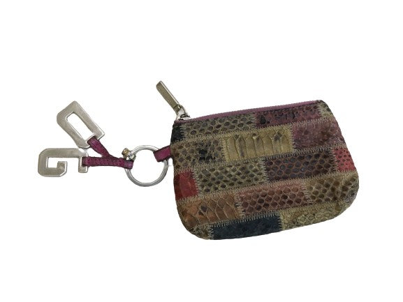 Dolce & Gabbana Multicolor Snakeskin ZIp Coin Purse Key Ring Pouch  ladies