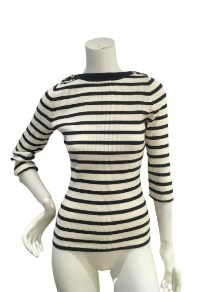 346 BROOKS BROTHERS Striped Knit Top Sweater Jumper Size M medium ladies