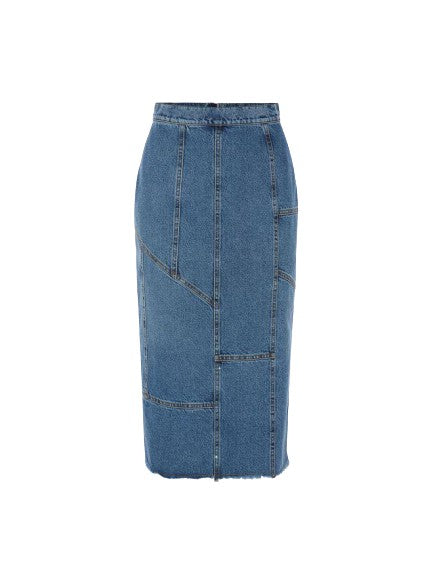 Alexander McQueen patched denim jeans mid length midi skirt Size I 42 UK 10 US 6 ladies