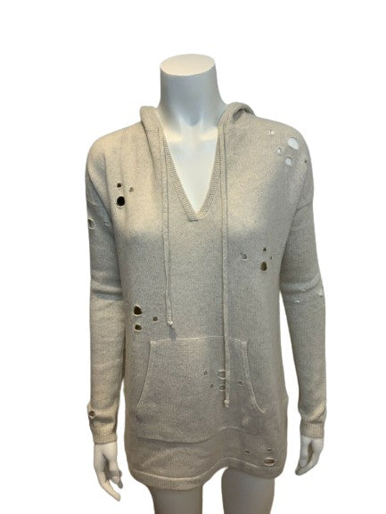 AUTUMN CASHMERE Beige Distressed Hoodie Jumper Sweater Size S small ladies