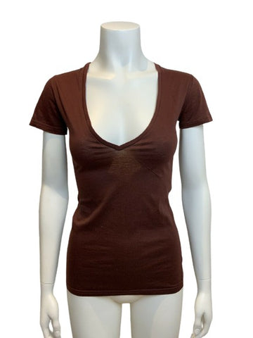 750 Brown Scoop Neck Casual T shirt top Size XS ladies