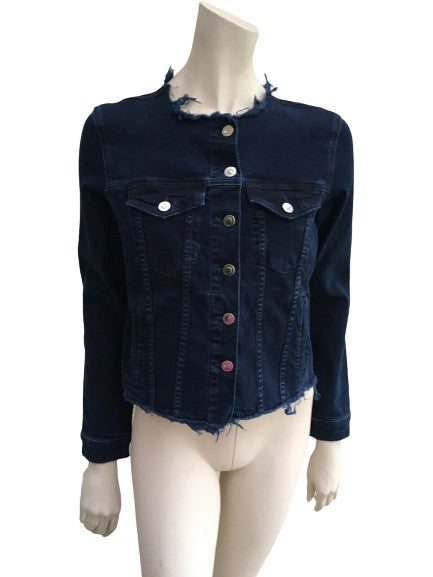ivy copenhagen navy distressed denim jacket Size 34 XS ladies