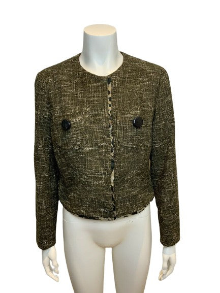 Natan Tweed Brown Blazer Jacket Size 44 L large ladies