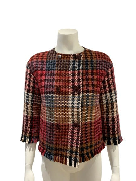 Loro Piana 100% Cashmere Reversible Traford Caviar Check Jacket Size I 38 XS ladies