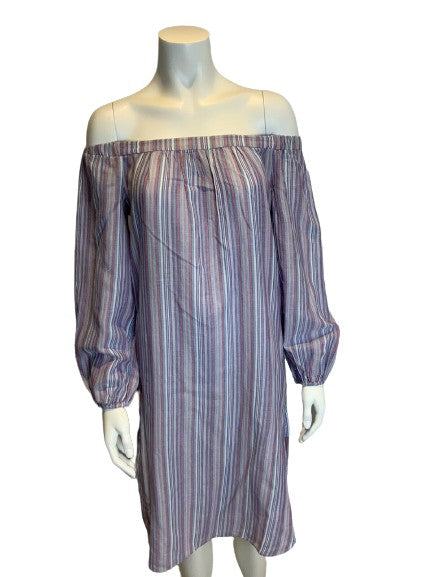 BCBG MAX AZRIA STRIPED OFF THE SHOULDERS DRESS SIZE XS Ladies