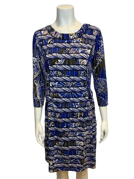 BCBG MAX AZRIA BLUE PRINTED TUNIC DRESS SIZE L LARGE LADIES