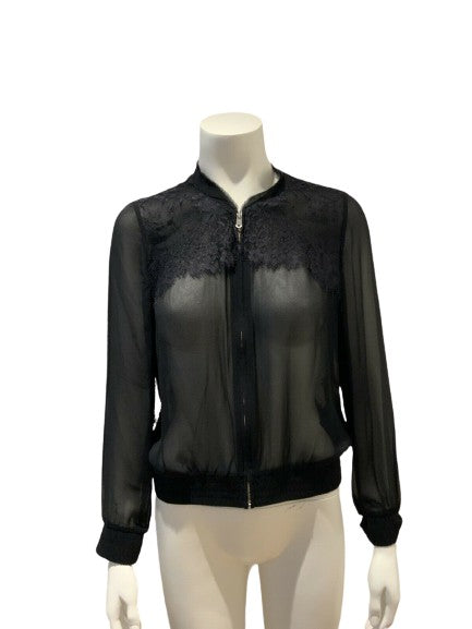CLUB MONACO Allegra silk lace bomber jacket Size S small ladies