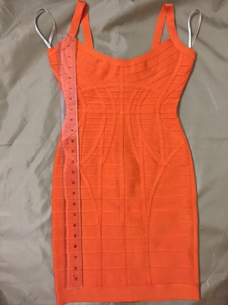 HERVE LEGER KOLLETE NOVELTY ESSENTIALS DRESS IN ORANGE SIZE L LARGE LADIES