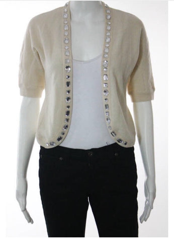 MARC JACOBS Cream Wool Jewel Detailing Short Sleeve Cardigan Sweater Sz S Ladies