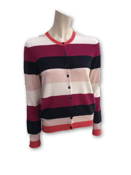 AUTOGRAPH M&S Marks & Spencer Pure Cashmere Striped Long Sleeve Jumper Cardigan Ladies